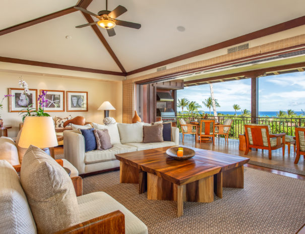 View of the living room and out to the view from property HALI10 at Hualalai Resort.