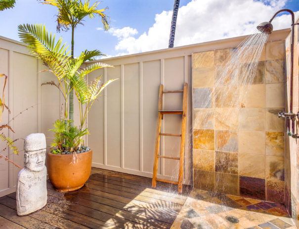 Blue skies and sunshine light up outdoor shower area with art and tropical palms decorating the enclosed area