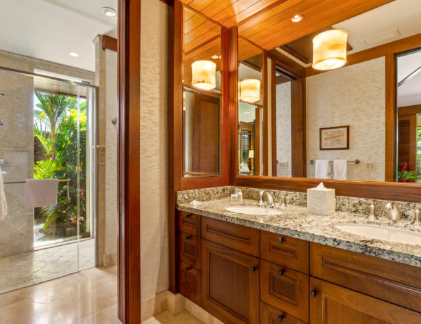 Wooden drawers and marble counter tops on a large vanity with large mirror reflecting tropical foliage, door leading past vanity to separate walk in shower area and exterior door showing private garden beyond.