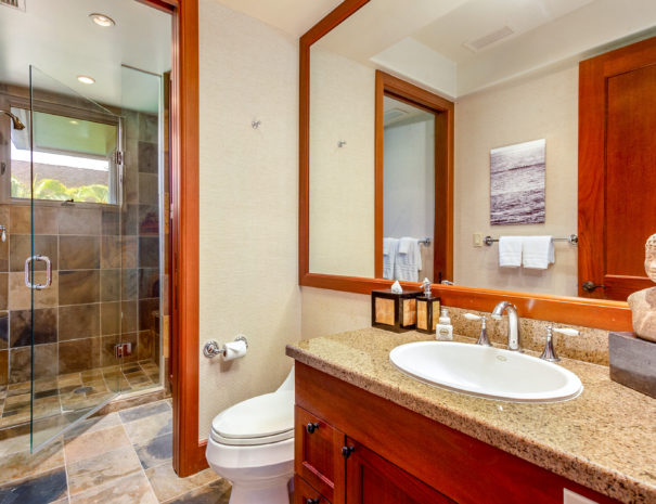 Artfully decorated and tiled bathroom shows vanity and toilet with large walk in shower area beyond
