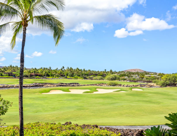 Hualalai Golf Course with bunker and golf path with coconut tree in foreground.