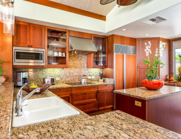 Well appointed kitchen with marble counter tops and backsplash with wooden cabinetry and island with a large orchid plant