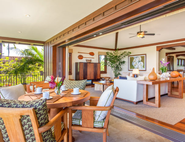 View of outdoor dining and into the living room from the lanai on Hali'ipua 10 property.